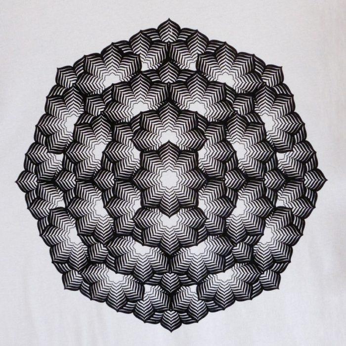 black flower accento gray tshirt detail